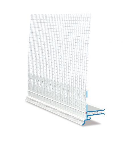 Abschlussprofil SOLI-TEX-DUE W62-2 mit gekröpfter Tropfkante und Gewebe 12,5 cm, zum Aufstecken, Länge: 210 cm